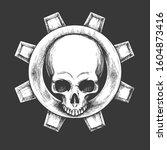 human skull with mechanical... | Shutterstock . vector #1604873416