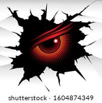 demonic red eye looks at you... | Shutterstock . vector #1604874349