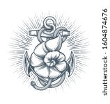 retro emblem of anchor with... | Shutterstock . vector #1604874676