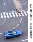 Blue Car Heading To Pedestrian...