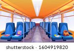 school bus interior with blue... | Shutterstock .eps vector #1604919820