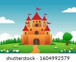 castle on the hill cartoon...   Shutterstock .eps vector #1604992579