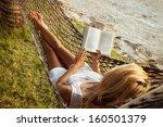 Woman Lying In A Hammock On The ...