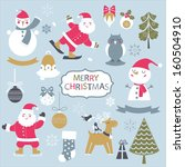 set of vintage christmas and... | Shutterstock .eps vector #160504910