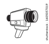 black outline video camera... | Shutterstock . vector #1605057019