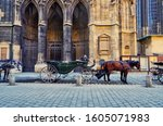 Small photo of Vienna ,Austria - April 28th ,2016 : Abstract classic horse-drawn carriage is elegant horses with equipage coaches as tourist carry-in vehicle that ride around Vienna city center for sightseeing tour