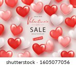 happy valentine's day sale... | Shutterstock .eps vector #1605077056