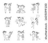 cute couple cartoon set outline....   Shutterstock .eps vector #1605099100