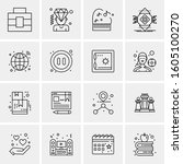 16 universal business icons... | Shutterstock .eps vector #1605100270