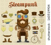 steampunk character and... | Shutterstock .eps vector #160519904