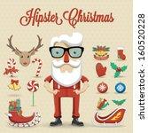 hipster santa claus character... | Shutterstock .eps vector #160520228