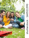 group of happy young college... | Shutterstock . vector #160521590