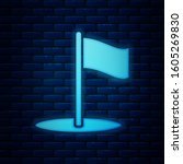 glowing neon flag icon isolated ...