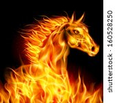 Raster version. Head of horse in fire on black background. - stock photo