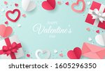 valentine's day greeting card... | Shutterstock .eps vector #1605296350