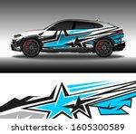 wrap car decal design vector ... | Shutterstock .eps vector #1605300589