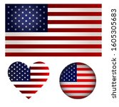 set american flag  american... | Shutterstock .eps vector #1605305683