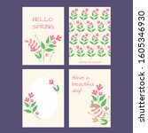 set of 4 spring vector greeting ... | Shutterstock .eps vector #1605346930