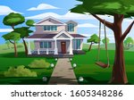 cartoon private house vector... | Shutterstock .eps vector #1605348286