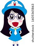 the girl who has blue hat and... | Shutterstock . vector #1605365863