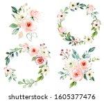 Set Watercolor Flowers Hand...
