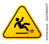 slippery floor sign  vector... | Shutterstock .eps vector #1605384619