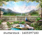 Beautiful view from the flower-covered balcony to the mountain lake and pink sunrise. Digital collage , mural and fresco. Wallpaper. Poster design. - stock photo