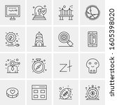 16 universal business icons... | Shutterstock .eps vector #1605398020