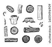 log tree vector hand drawn...   Shutterstock .eps vector #1605496909