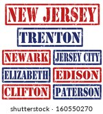 Set of New Jersey cities stamps on white background, vector illustration