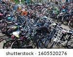 Hundreds Of Parked Bicycles At...