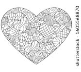vector abstract heart with hand ... | Shutterstock .eps vector #1605568870