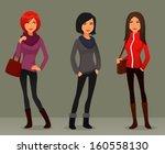 quirky cartoon girls in... | Shutterstock .eps vector #160558130