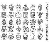 halloween and easter line icons ... | Shutterstock .eps vector #1605633979