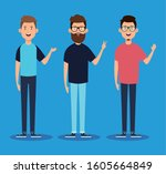 group of young men characters... | Shutterstock .eps vector #1605664849
