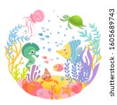 funny sea animals in circle....   Shutterstock .eps vector #1605689743