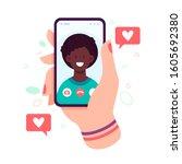 female hand holding smartphone... | Shutterstock . vector #1605692380