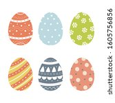 set of cute decorated easter... | Shutterstock .eps vector #1605756856