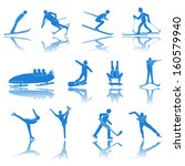 set of sports icons winter... | Shutterstock .eps vector #160579940