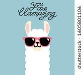 Cute Cartoon Llama Alpaca...