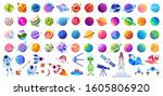 big set of isolated space... | Shutterstock .eps vector #1605806920