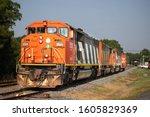 Orange Train With Stripes On...
