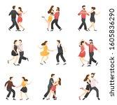vector set of romantic scenes...   Shutterstock .eps vector #1605836290