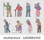 elderly characters express... | Shutterstock .eps vector #1605881443