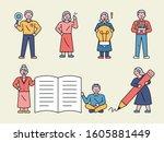 senior characters holding...   Shutterstock .eps vector #1605881449