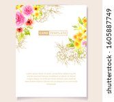 romantic wedding invitation... | Shutterstock . vector #1605887749
