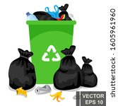 garbage. simple flat style.... | Shutterstock .eps vector #1605961960