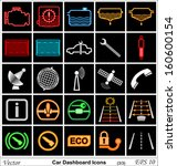 Car dashboard vector icons - stock vector