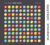 100 flat web interface icons....