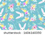 spring easter background with... | Shutterstock .eps vector #1606160350